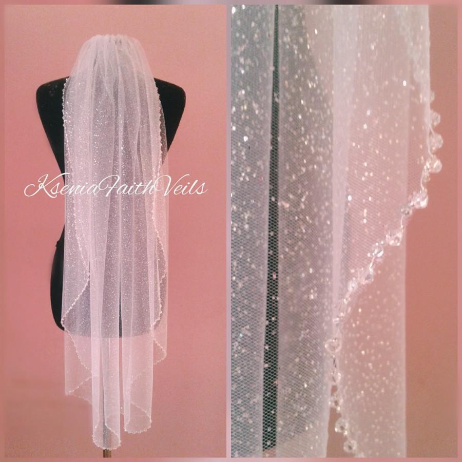 زفاف - Glitter veil with сrystals Sparkling fingertip veil