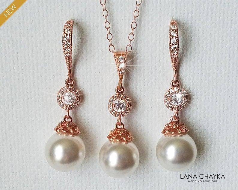 Wedding - Rose Gold Bridal Pearl Jewelry Set, Swarovski White Pearl Earrings&Necklace Set, Wedding Rose Gold Jewelry, Bridesmaids Pink Gold Jewelry