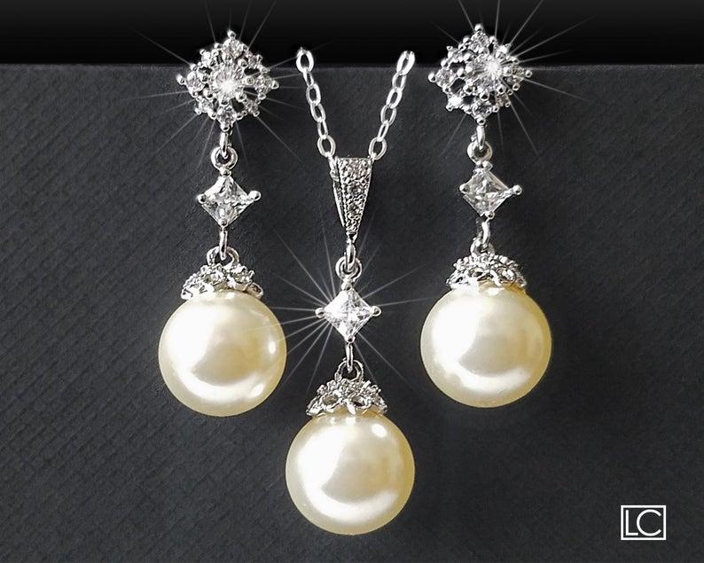 Wedding - Wedding Jewelry Set, Pearl Bridal Jewelry Set, Swarovski Ivory Pearl Earrings Necklace Set, Bridal Jewelry, Pearl Drop Silver Set, Prom Set