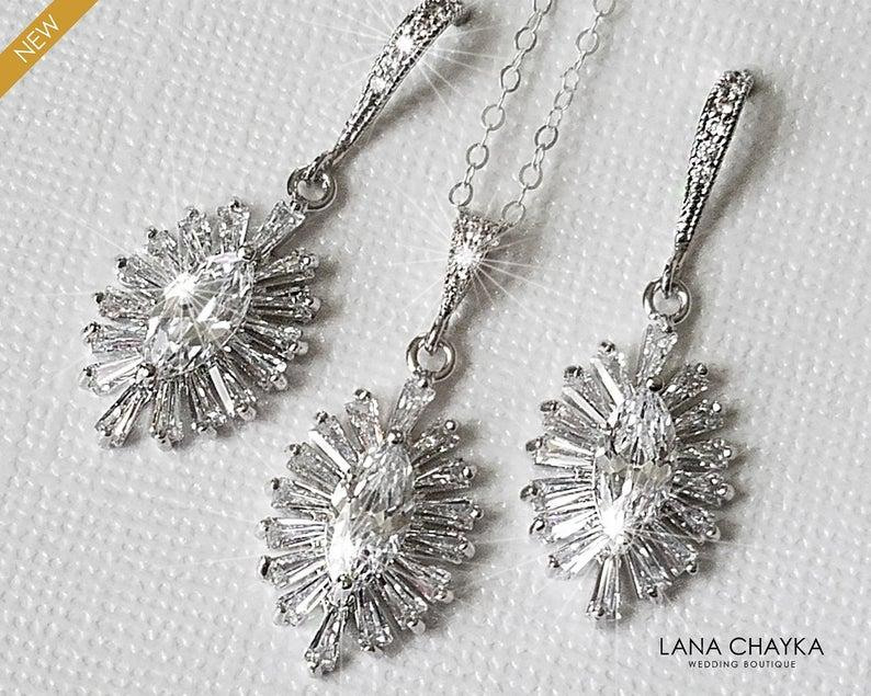 Wedding - Crystal Bridal Jewelry Set, Wedding Jewelry, Cubic Zirconia Marquise Jewelry Set, Earrings&Necklace Oval Set, Bridal Jewelry, Prom Jewelry