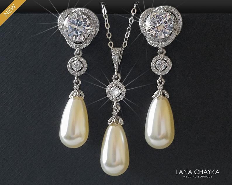 Hochzeit - Pearl Bridal Jewelry Set, Swarovski Ivory Pearl CZ Earrings Necklace Set, Teardrop Pearl Chandelier Earrings, Single Pearl Silver Pendant