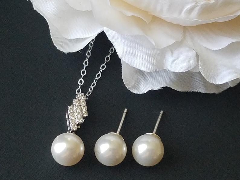 Wedding - Pearl Sterling Silver Jewelry Set, Swarovski White 8mm Pearl Earrings&Necklace Set, Wedding Pearl Necklace, Pearl Studs, Bridal Jewelry Set