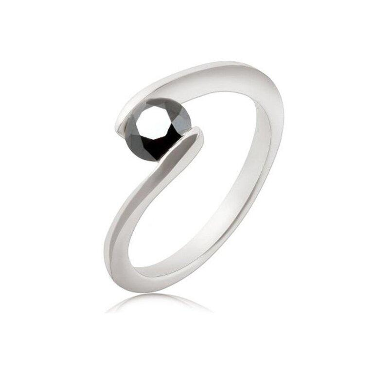 Wedding - 0.50 Ct Tension Set Black Diamond Ring