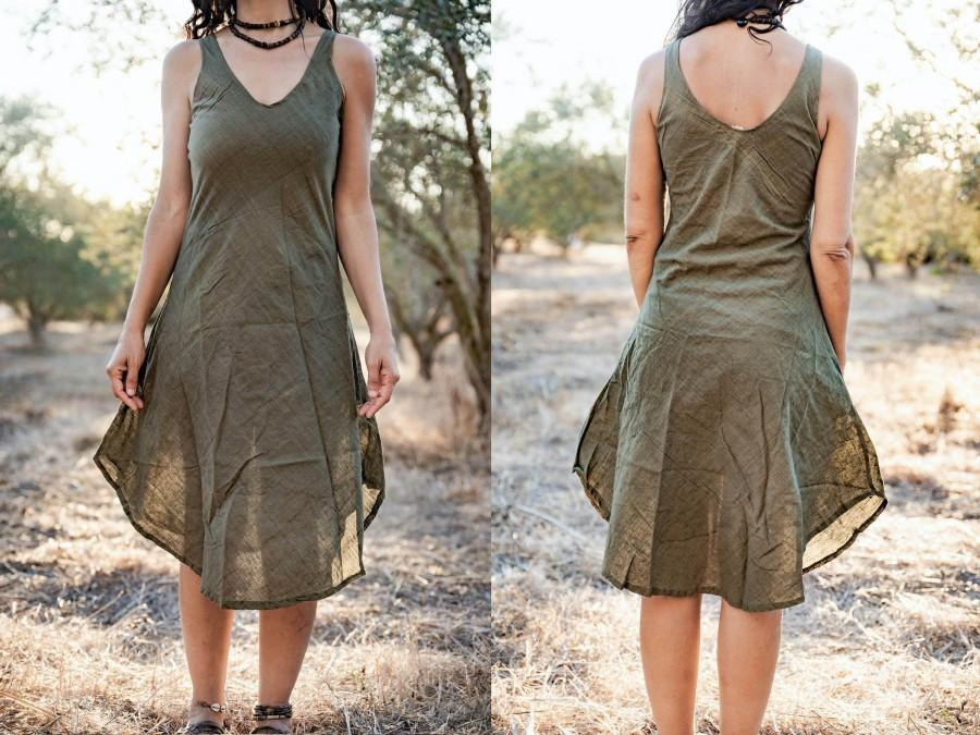 Wedding - Kalya Dress • Handwoven Cotton • Natural Dye Green • Size XS