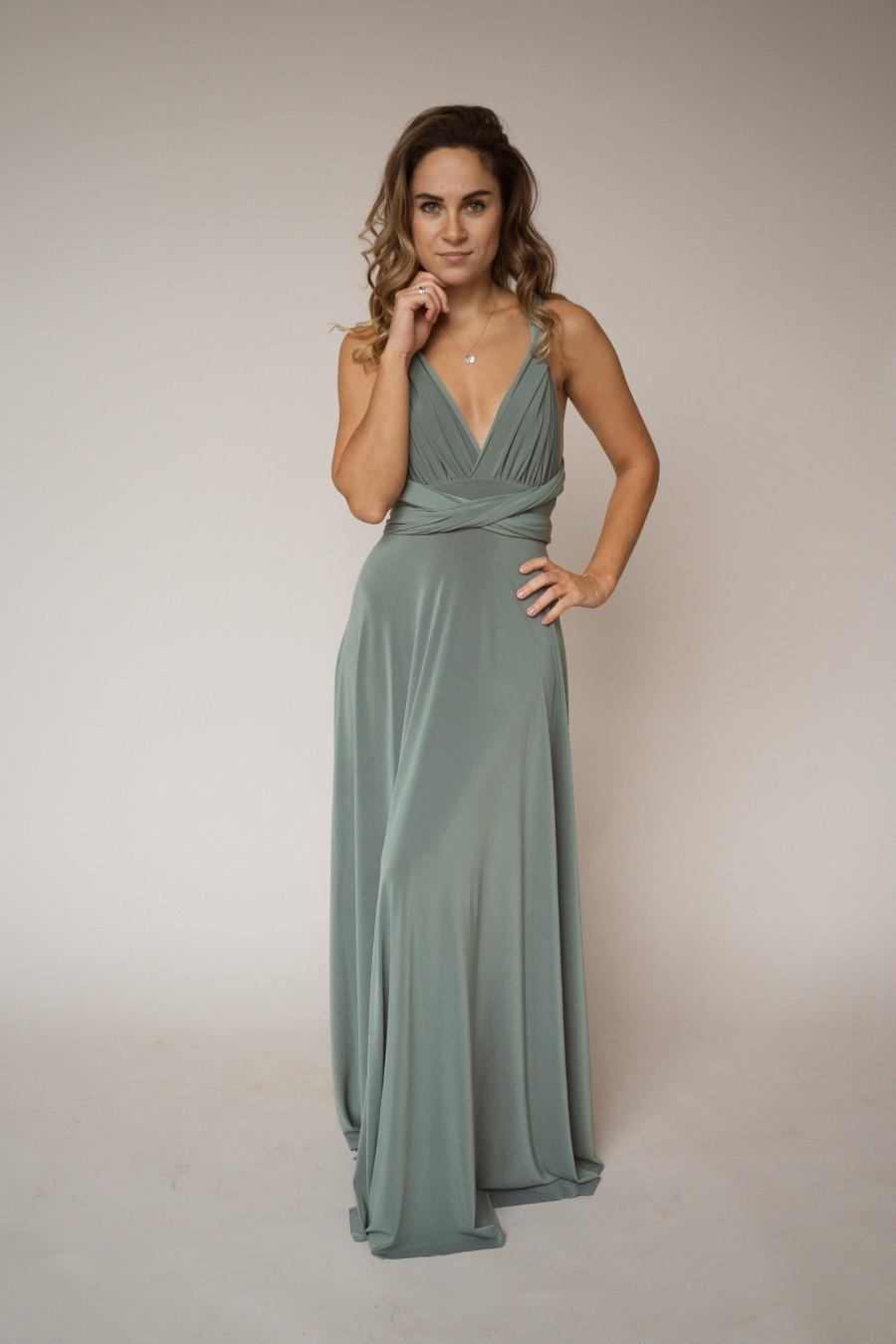 Wedding - Sage green bridesmaid dress, moss green infinity dress, sage green convertible dress, moss green multiway dress, sage green bridesmaid dress