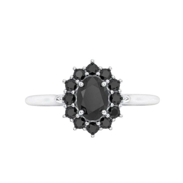 Wedding - 2 Carat Oval Cut Black Diamond Engagement Ring In Halo Style