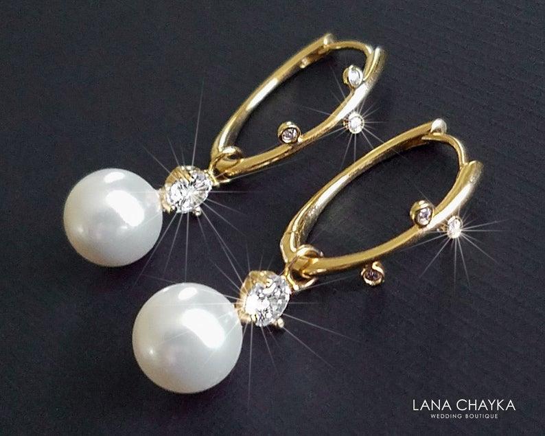 Wedding - White Pearl Gold Earrings, Swarovski Pearl Gold Leverbacks, Bridal Pearl Drop Earrings, Wedding White Pearl Jewelry, Bridal Pearl Jewelry