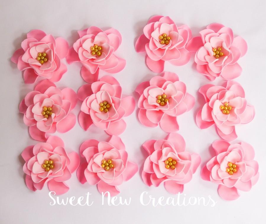"Свадьба - edible flowers 2"" vintage pink fondant flowers cupcake toppers wedding cake decorations pink rose ombre sugar flowers Sweet New Creations"