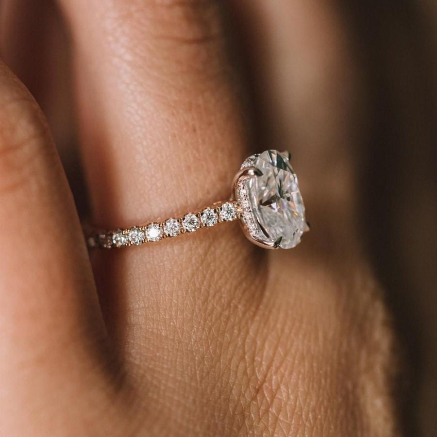 Wedding - 3 CT /10*8mm/ Hidden Halo Moissanite Engagement in Solid Gold, Elongated Oval Cut Engagement Ring, Modern Oval Diamond Engagement Ring.