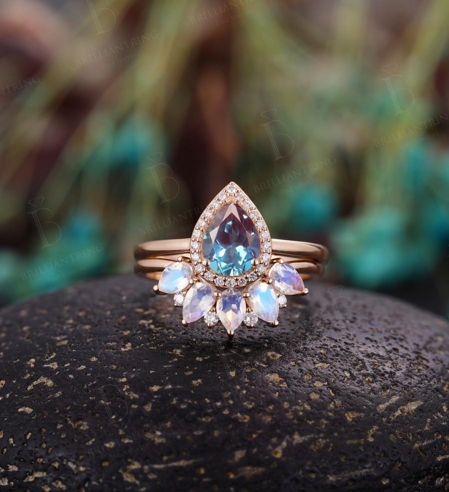 Wedding - Alexandrite engagement ring  vintage pear shaped moissanite unique Wedding Ring set Jewelry art deco Anniversary wedding ring