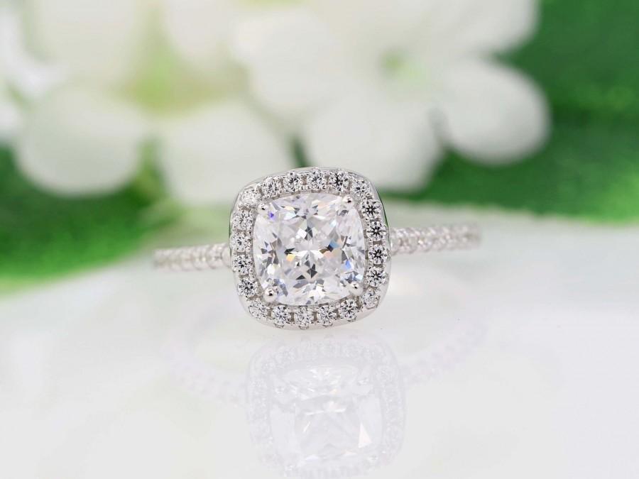 Свадьба - 2 Ct Cushion Halo Engagement Ring, 2ct Cushion Promise Ring, Wedding Ring, Anniversary Ring, CZ Cushion Diamond Simulant, - Sterling Silver