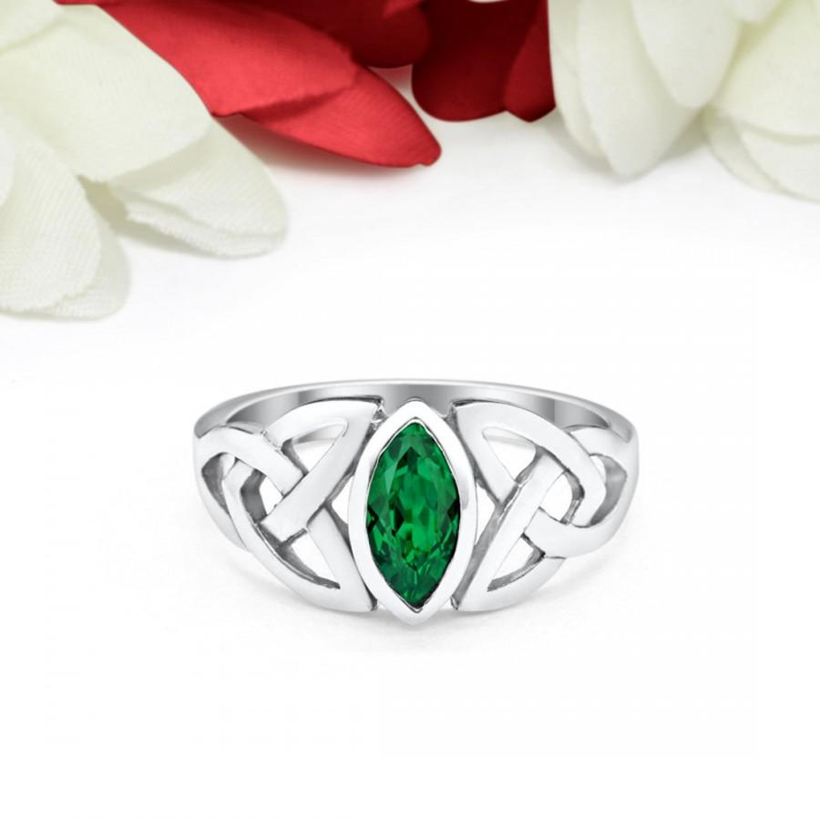 Wedding - Solitaire Ring Marquise Simulated Emerald Green Celtic Shank Solid 925 Sterling silver