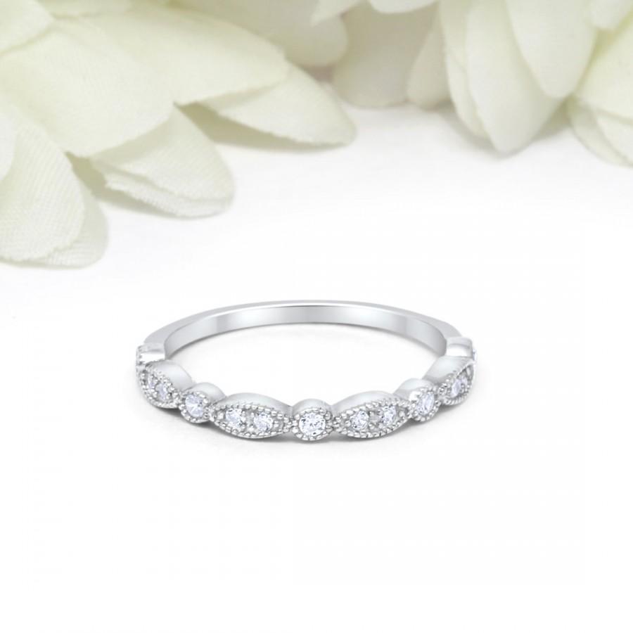 Mariage - 1.8mm Half Eternity Art Deco Wedding Band 925 Sterling Silver Round Simulated Diamond