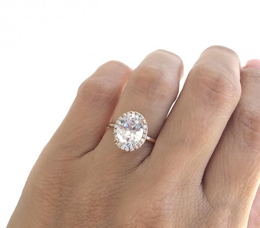 زفاف - Rose Gold Oval Engagement Ring. Solitaire Ring. Large Stone Oval Cut Solitaire Ring. Promise Ring. Rose Gold Wedding Ring. 3 CT Wedding Ring
