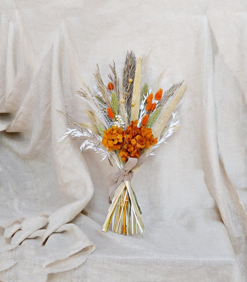Wedding - Wild Dried Flowers Wedding Bouquet/ Tropical Dry Flowers Arrangement/ Burnt Orange Fall Bouquet/ Pampas Grass Decor Home Dried Flowers.