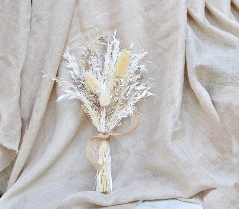 Wedding - Gold and White Dried Flower Bouquet/ Metallic Dry Flower Wedding Bouquet/ Dry Thistle Flower Arrangement/ Champagne gold Bride Bouquet.