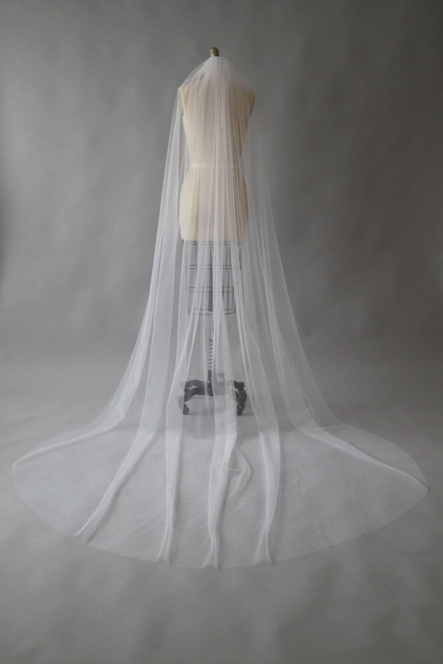 Mariage - CLAUDE, Sheer simple one tier veil, cathedral veil, white veil, custom veil, Made in Australia.