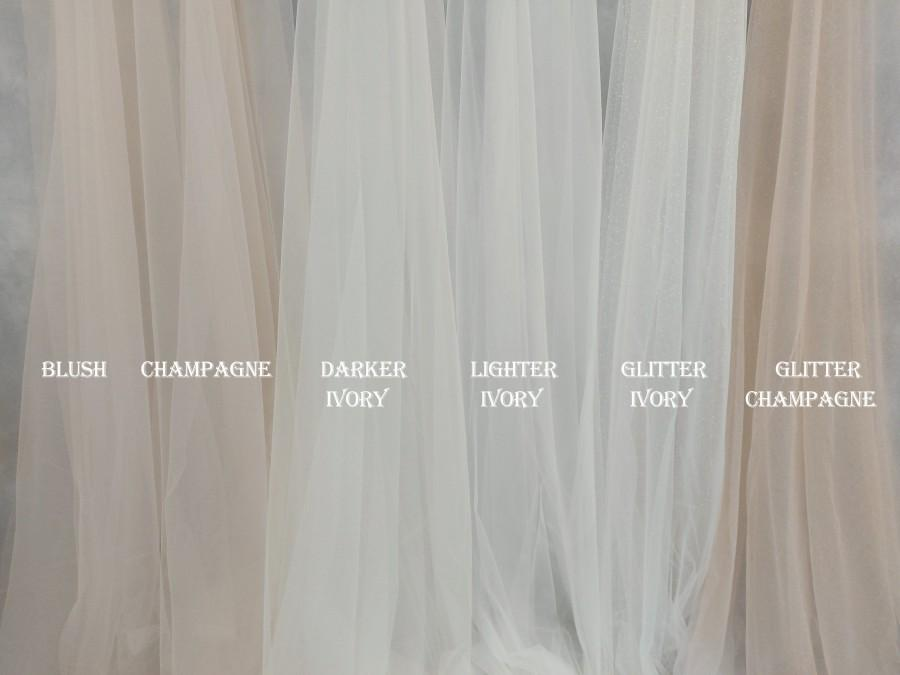 Wedding - Bridal veil tulle samples, Glitter tulle, Light ivory tulle, Ivory tulle, Champagne tulle