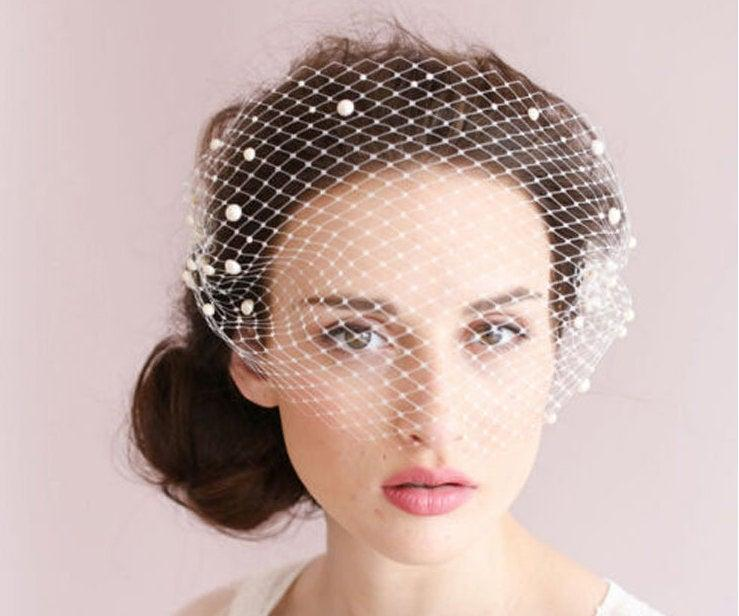 Wedding - Pearl Birdcage Veil Bridal Bird Cage Wedding Tulle Bachelorette Accessory Headpiece Head Hair Piece Short Bride Gift Weddings Accessories