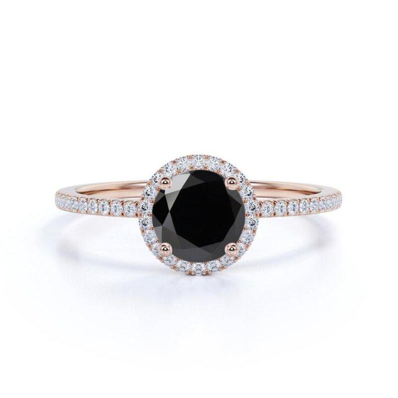 Wedding - 1.50 Carat Rose Gold Black Diamond Halo Ring For Engagement