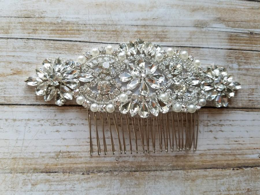 Свадьба - Wedding Hair Comb - Rhinestoen & Pearl Hair Comb - Style H0778CR
