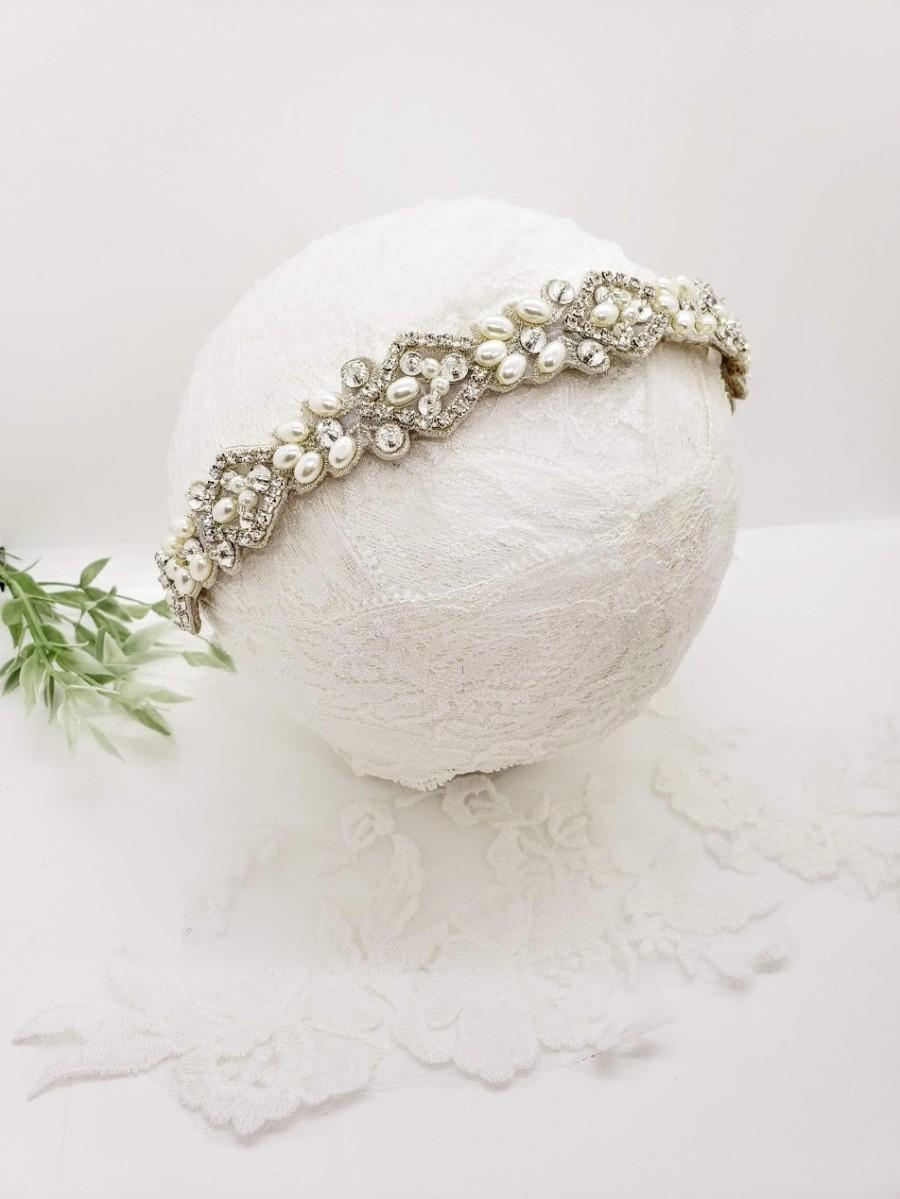 Hochzeit - Rhinestone Pearl Headband; Wedding Headband; Pearl Headband; Rhinestone Headband; Bridal Headband; Engagement Photos; Pearl Headpiece