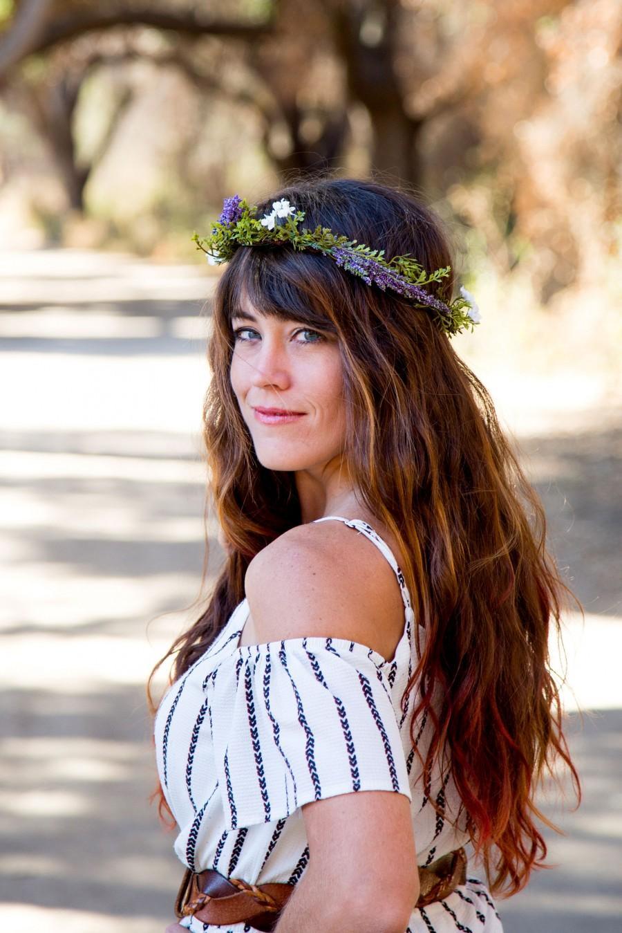 زفاف - Lavender Flower Crown, Purple Floral Headband, Earthy Hair Accessories, Flower Wreath, Purple Meadow Green Headband, Bridal Accessories