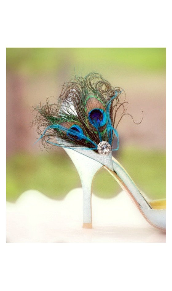 زفاف - Fancy Peacock Duo & Teal / Turquoise Shoe Clips. Spring Couture Bride Bridesmaid, Chic Bridal Maid of Honor Gift, Silver Gem, Girlfriend BFF