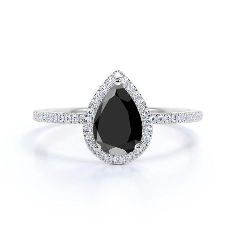 Wedding - Gorgeous 2 Ct Black Pear Diamond Engagement Ring In 14k White Gold