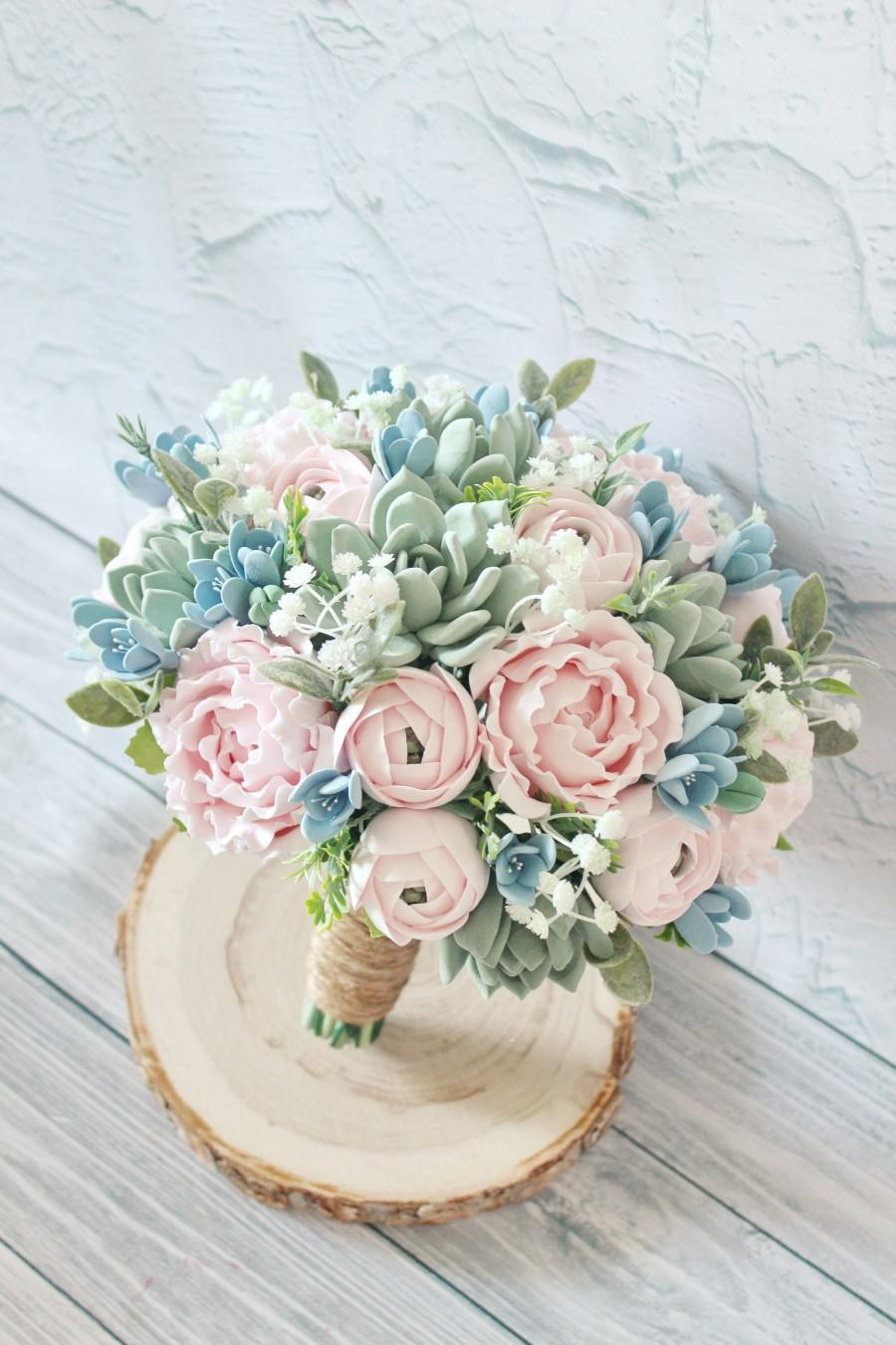 Hochzeit - Succulent wedding bouquet, Keepsake bouquet, baby's breath Bridal bouquet, Blush Pink Peony bouquet, Dusty blue bouquet