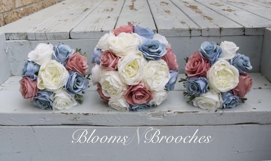 Mariage - Dusty Rose, Blue and  Ivory Wedding Bouquet, Wedding Flowers, Bridesmaid Bouquets, Corsage, bridal Flower Package