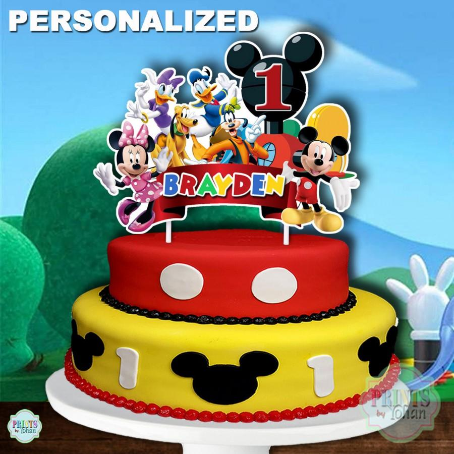 Hochzeit - MICKEY MOUSE CLUBHOUSE Cake Topper, Mickey Mouse 1st Birthday Cake Topper, Mickey Mouse Centerpiece, Cake Decoration, Mickey Mouse Clubhouse