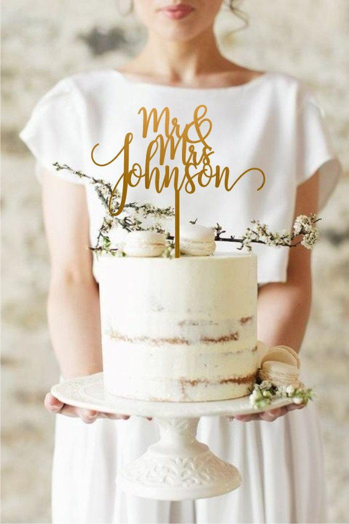 Hochzeit - Gold Rustic Wedding Cake Topper, Mr and Mrs Cake Topper, Custom Your Own Last Name