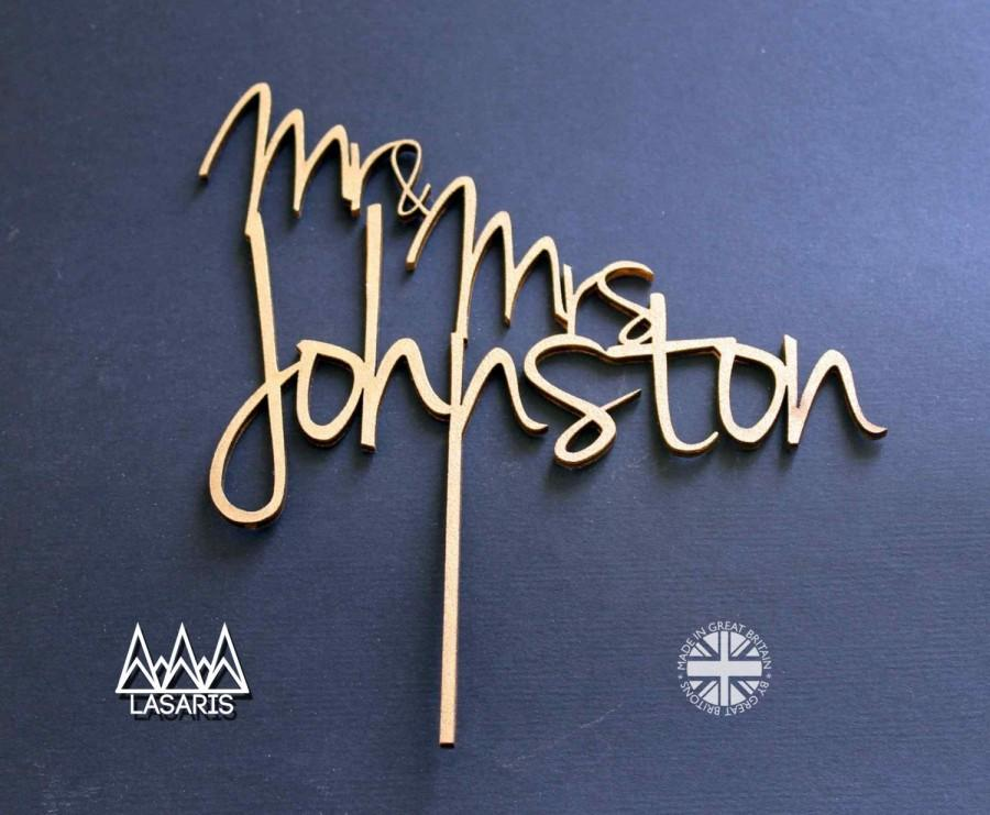 Wedding - Cake Topper Wedding Surname - Mr and Mrs