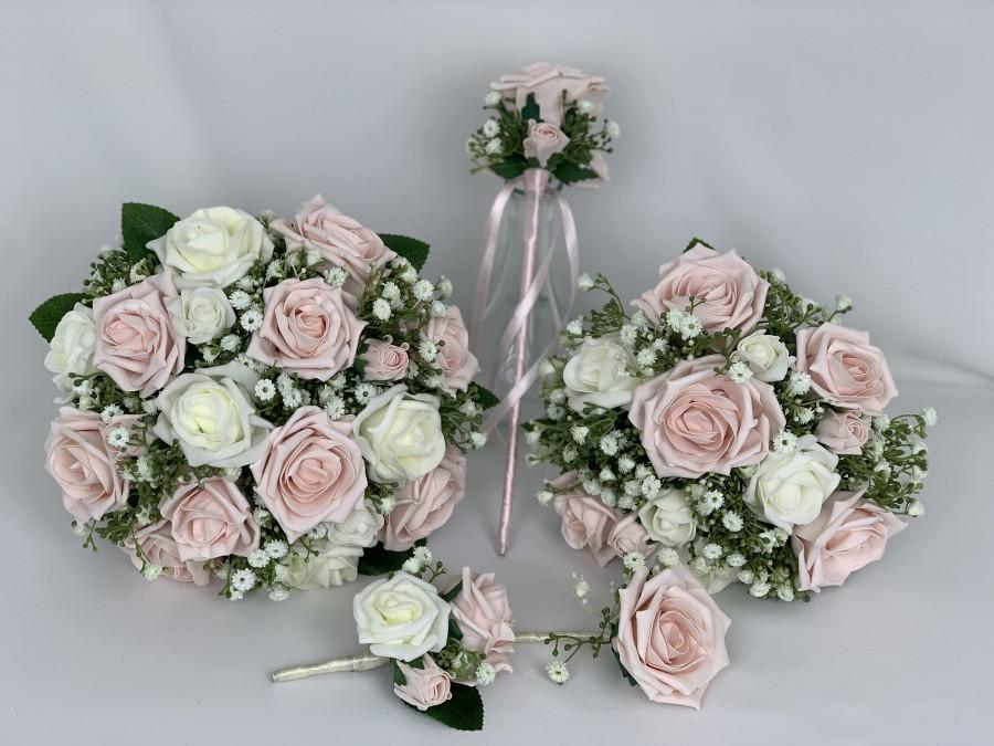 Hochzeit - wedding bouquets flowers sets with Gypsophila & blush pink roses