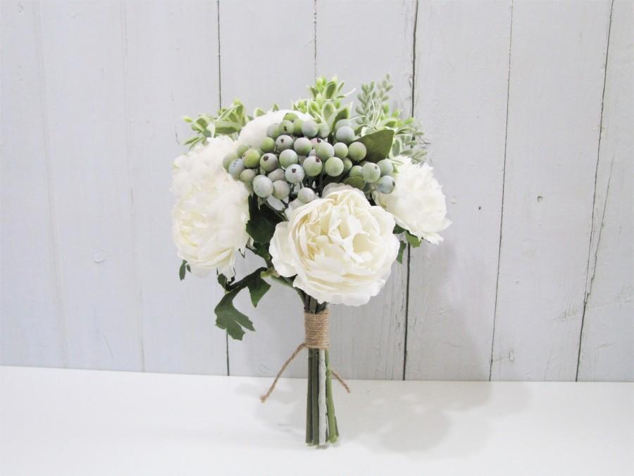 Hochzeit - Off White Floral Bouquet, Wedding Bouquet, White Table Flower, White Peony Bridal Bouquet, White Bridesmaid Bouquet, Flower Girl Bouquet