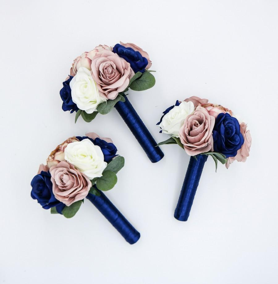 Hochzeit - Wedding Bouquets, Navy, Dusty Rose and Ivory Wedding Bouquet, Wedding Flowers, Bridesmaid Bouquets, Corsage, bridal Flower Package