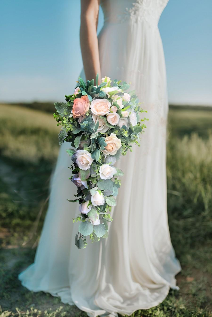 Wedding - Champagne Blush Pink Roses Eucalyptus Cascade Bridal Bouquet