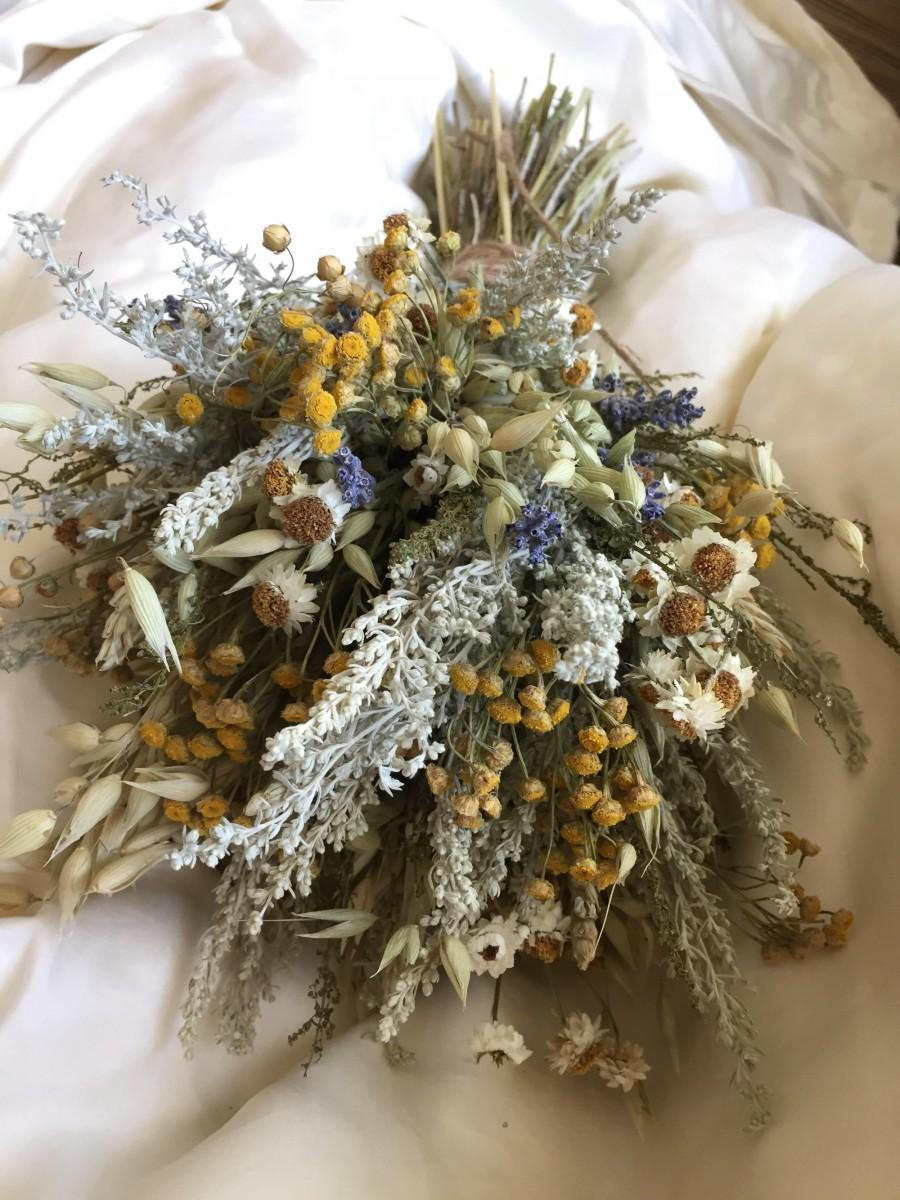 Hochzeit - Yellow Fields Fall bouquet - Wedding Bridal Bridesmaid bouquet -rustic fall flower bouquet or swag August delivery