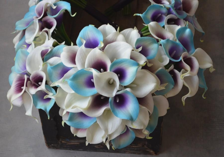 Wedding - Blue Purple Picasso Calla Lilies Bridal Bouquet Wedding Package Ivory Purple picasso Bridesmaids Bouquets Real Touch Flowers