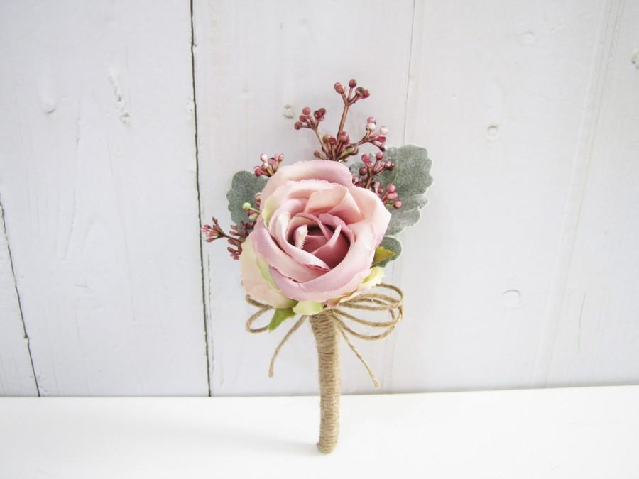 Hochzeit - Blush Rose Boutonnieres, Blush Boutonniere, Blush Buttonhole, Blush Corsage, Blush Wedding, Woodland wedding, Rustic wedding