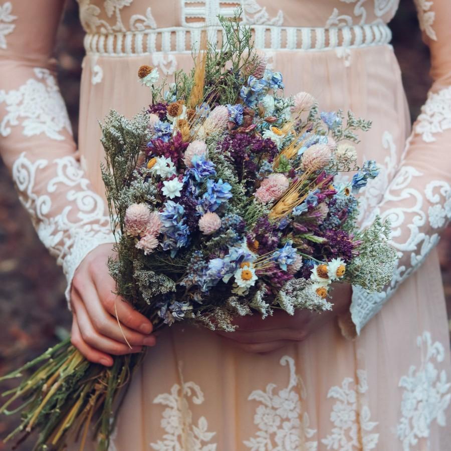 Hochzeit - Blue Lavender and Larkspur Dried Bridal bouquet / Dry Flower bouquet Wedding / Rustic Boho and Bridesmaid bouquet / Wildflower Dried bouquet