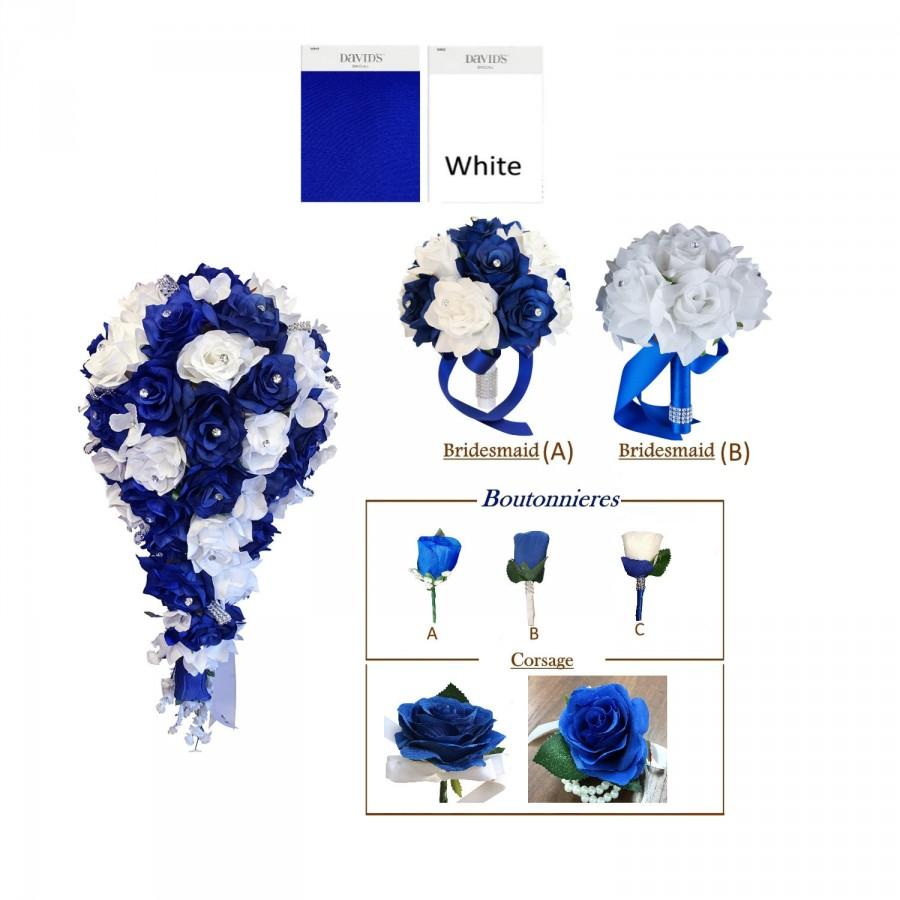 Wedding - Build your wedding package-Beautiful Made-to-order Keepsake artificial flowers in Royal Blue White