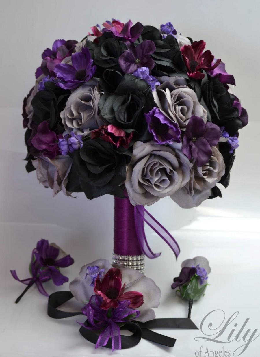 Wedding - 17 Piece Package, wedding bouquet, bouquet, bridal bouquet, Silk bouquet, flower bouquet, silk flower, BLACK, PLUM, gray, Lily of Angeles