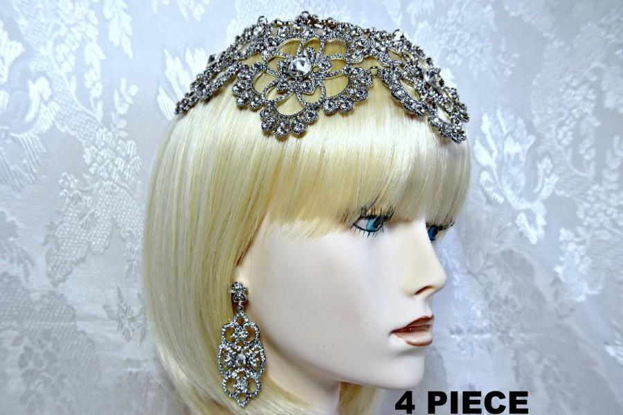 زفاف - GODDESS Headpiece GATSBY Headpiece Cleopatra Art Deco 1920s Roaring 20s Crystal headpiece Gatsby Wedding headpiece accessories dress party