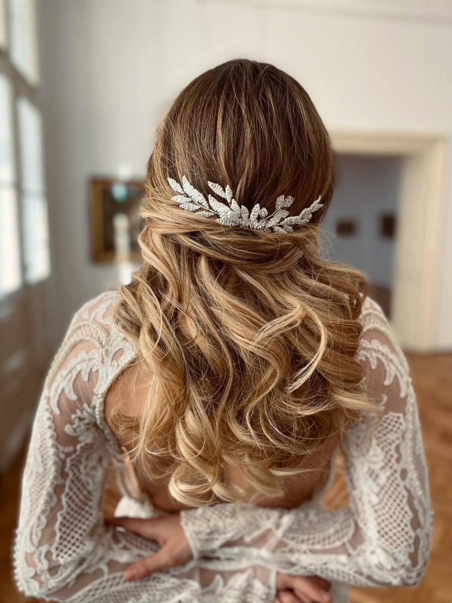 Mariage - Wedding headpiece, Leafy bridal hair comb, Leafy wedding hair comb, bridal headpiece, Leafy headpiece, Bridal haircomb, BRIDAL HAIR COMB
