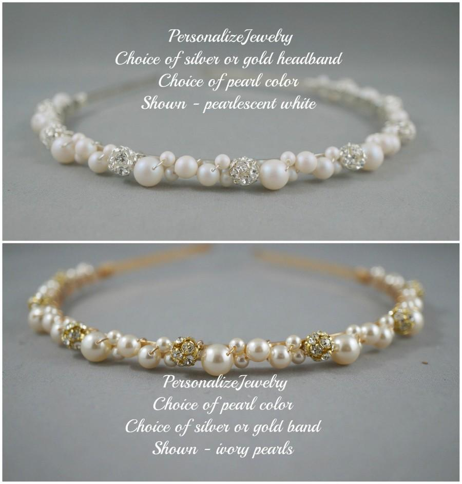 Wedding - Bridal hairband, Wedding headband, Pearls rhinestone balls hair band, Swarovski pearls, Beaded silver or gold headband, Gift for Bridesmaid