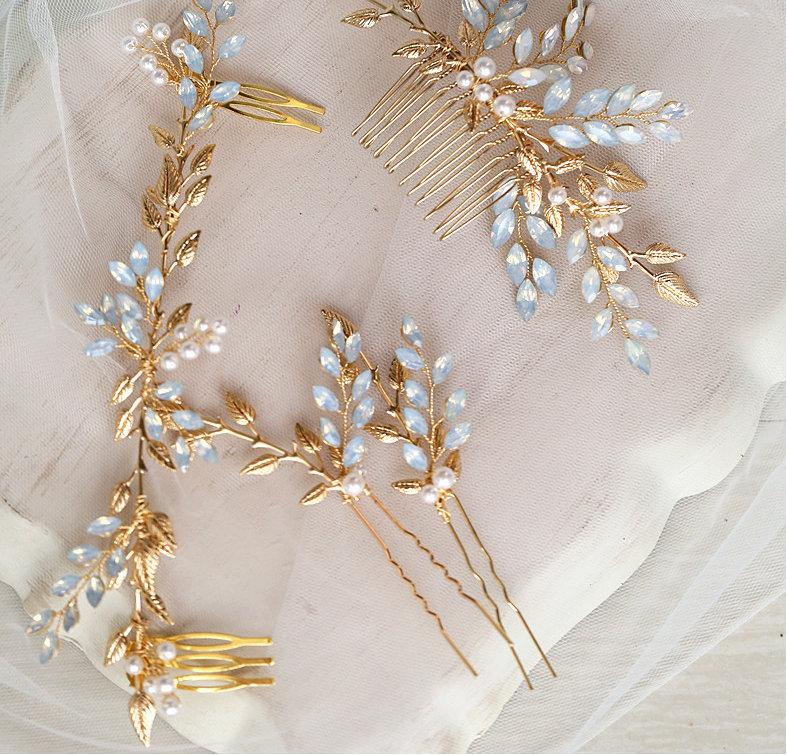 Wedding - Something blue hair comb/pins/hair wreath, Bridal hair accessories, Blue rhinestone with pearl