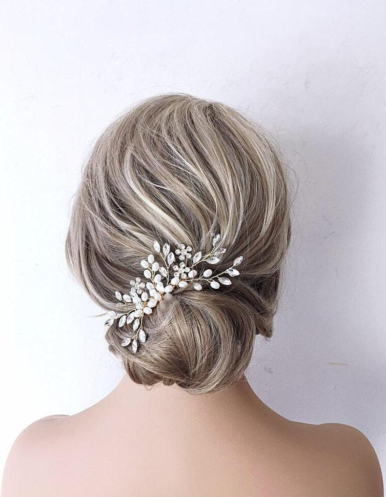 Mariage - Wedding hair accessory,hair clip Pearl Hair Vine Pearl And Crystal Wedding Hair Piece Bridal Hair Piece Pearl Bridal Hair comb bride comb