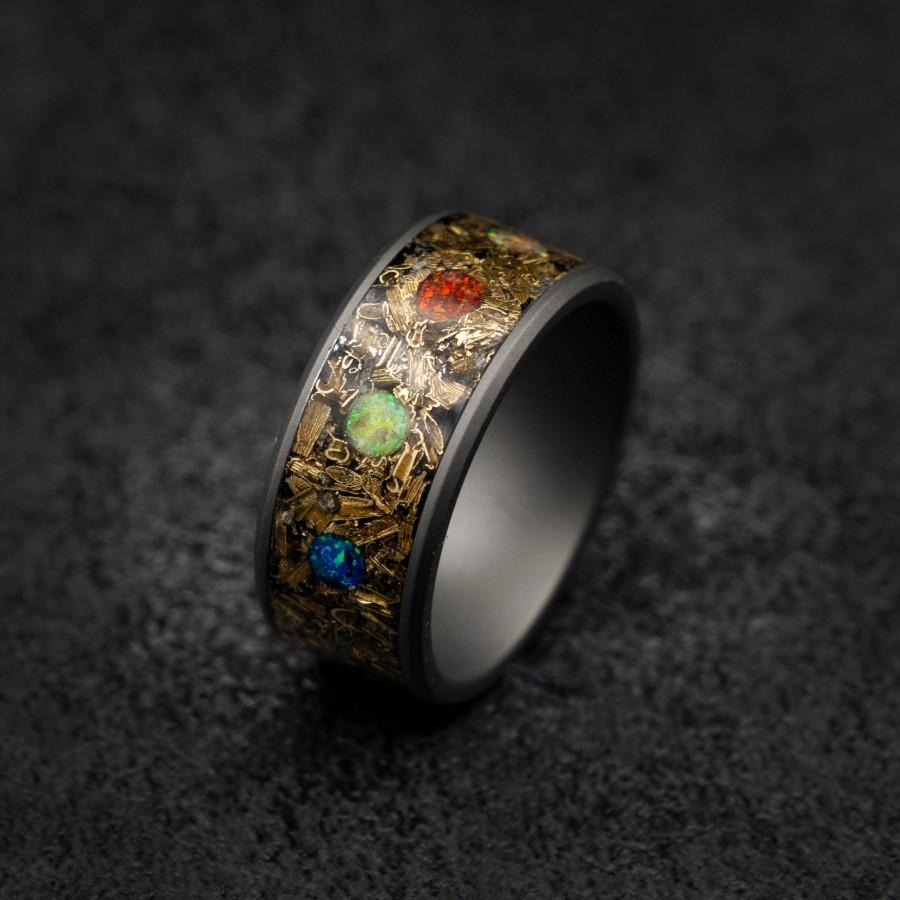 Mariage - marvel infinity ring, Meteorite ring ,mens wedding band, Opal ring, tungsten, Unique mens ring, Decazi, mens ring, rings for men.